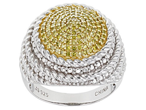 Photo of .50ctw Round Yellow Diamond Rhodium Over Sterling Silver Dome Ring - Size 9
