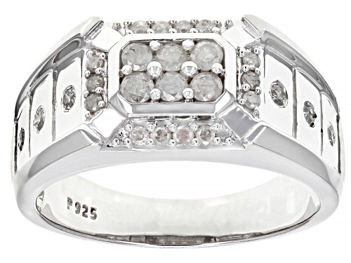 Photo of 0.65ctw Round White Diamond Rhodium Over Sterling Silver Mens Ring - Size 11