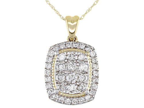 Photo of 1.00ctw Round White Diamond 10K Yellow Gold Pendant With 18 Inch Rope Chain