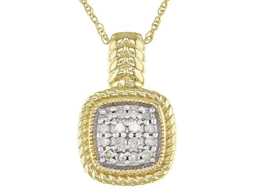 """Photo of .25ctw Round White Diamond 14K Yellow Gold Over Sterling Silver Cluster Pendant With 18"""" Rope Chain"""