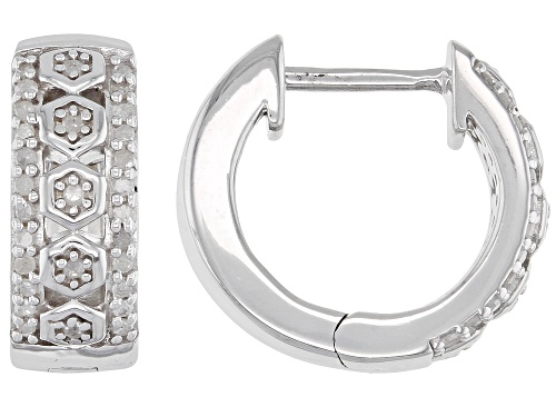 Photo of 0.25ctw Round White Diamond Rhodium Over Sterling Silver Hoop Earrings