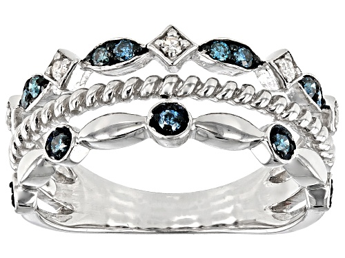 Photo of 0.25ctw Round Blue And White Diamond Rhodium Over Sterling Silver Band Ring - Size 7
