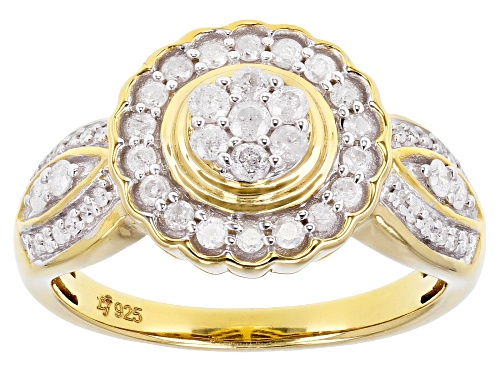 Photo of 0.50ctw Round White Diamond 14K Yellow Gold Over Sterling Silver Cluster Ring - Size 7