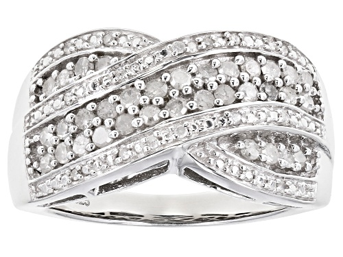 Photo of 0.50ctw Round White Diamond Rhodium Over Sterling Silver Crossover Ring - Size 6