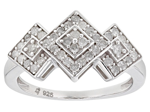Photo of 0.50ctw Round White Diamond Rhodium Over Sterling Silver Cluster Ring - Size 6