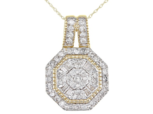 Photo of 1.00ctw Round And Baguette White Diamond 10k Yellow Gold Cluster Pendant With 18inch Rope Chain