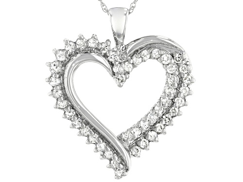 Photo of 0.50ctw Round White Diamond 10K White Gold Heart Pendant With 18 Inch Rope Chain