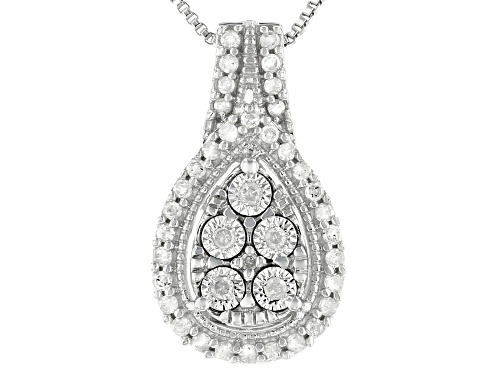 0.20ctw Round White Diamond Rhodium Over Sterling Silver Pendant With 18 Inch Box Chain