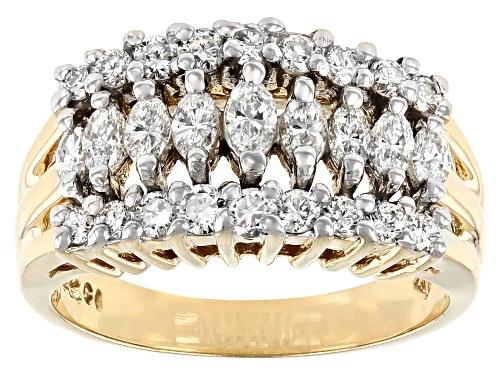 Photo of 1.00ctw Marquise & Round White Diamond 14K Yellow Gold Pyramid Ring - Size 7