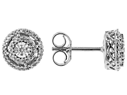 Photo of 0.25ctw Round White Diamond 10K White Gold Cluster Earrings