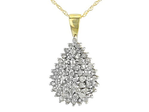 Photo of 1.00ctw Round White Diamond 10K Yellow Gold Cluster Pendant With 18 Inch Rope Chain