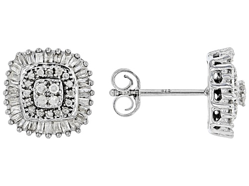 Photo of 0.50ctw Round & Baguette White Diamond Rhodium Over Sterling Silver Cluster Earrings
