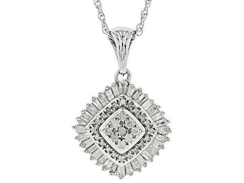 Photo of 0.50ctw Round And Baguette White Diamond Rhodium Over Sterling Silver Cluster Pendant With Chain