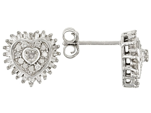 Photo of 0.50ctw Round And Baguette White Diamond Rhodium Over Sterling Silver Heart Cluster Earrings