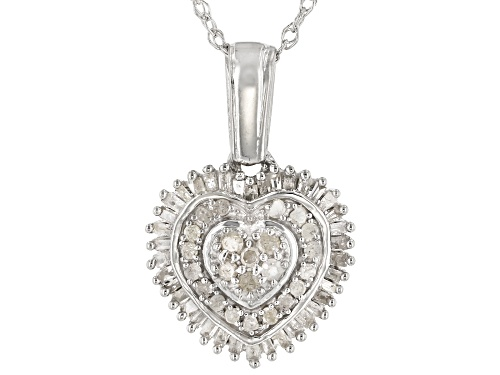 Photo of 0.50ctw Round & Baguette White Diamond Rhodium Over Sterling Silver Heart Cluster Pendant With Chain