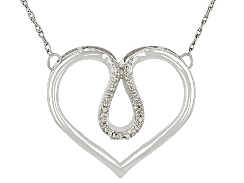 Photo of Round White Diamond Accent Rhodium Over Sterling Silver Heart Necklace - Size 20