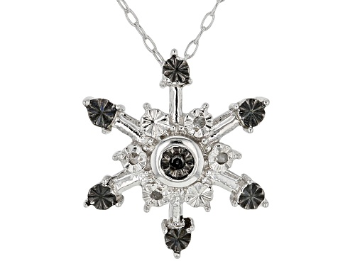 Photo of Round Black And White Diamond Accent Rhodium Over Sterling Silver Pendant With Cable Chain