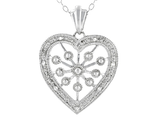 Photo of Round White Diamond Accent Rhodium Over Sterling Silver Heart Pendant With 18 Inch Cable Chain