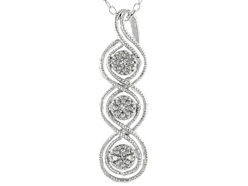 Photo of Round White Diamond Accent Rhodium Over Sterling Silver Pendant With 18 Inch Cable Chain