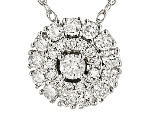 Photo of 0.60ctw Round White Diamond 10K White Gold Cluster Pendant With 18 Inch Rope Chain