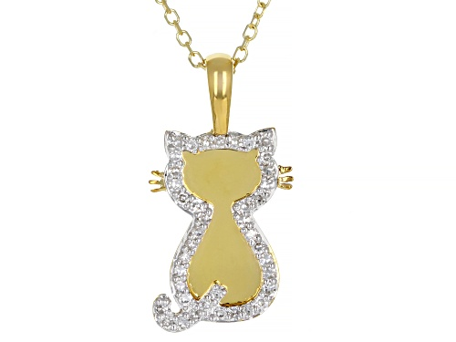 Photo of 0.10ctw Round White Diamond 10K Yellow Gold Cat Pendant With Adjustable Cable Chain