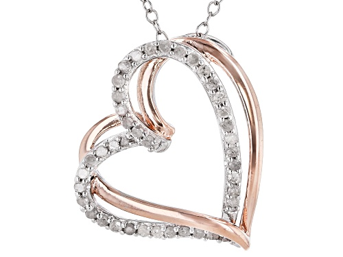 Photo of 0.25ctw Round White Diamond Rhodium And 14K Rose Gold Over Sterling Silver Heart Pendant With Chain