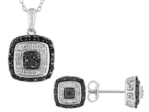 Photo of 0.48ctw Round Black And White Diamond Rhodium Over Sterling Silver Earrings And Pendant Jewelry Set