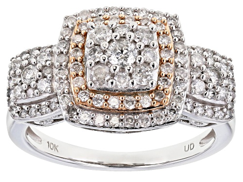 Photo of 1.00ctw Round White Diamond 10k White Gold And 10K Rose Gold Accent Cluster Ring - Size 7