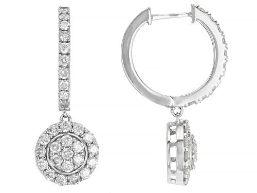Photo of 1.50ctw Round White Diamond 10k White Gold Dangle Earrings
