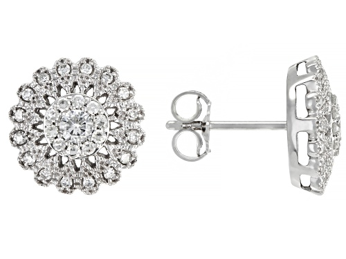 0.50ctw Round White Diamond 14K White Gold Cluster Earrings