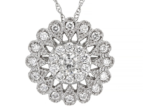 Photo of 0.50ctw Round White Diamond 14K White Gold Cluster Pendant With Chain
