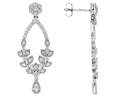 Photo of 1.00ctw Round White Diamond 14K White Gold Dangle Earrings