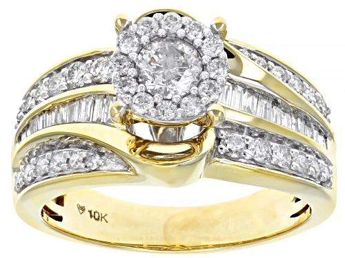 1.00ctw Round And Bagutte White Diamond 10K Yellow Gold Cluster Ring - Size 7