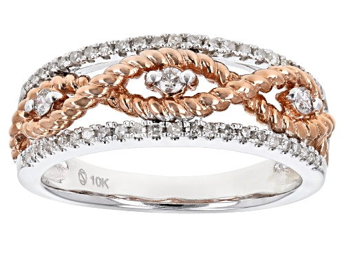 Photo of .25ctw Round White Diamond 10K White And Rose Gold Band Ring - Size 7