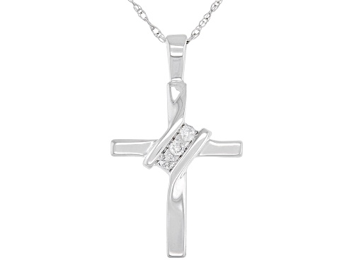 Photo of Round White Diamond Accent 10K White Gold Cross Pendant With 18 Inch Rope Chain