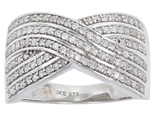 Photo of 0.60ctw Round White Diamond Rhodium Over Sterling Silver Crossover Ring - Size 7
