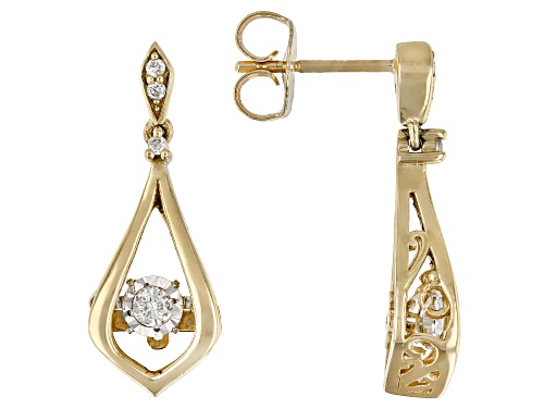 Photo of 0.15ctw Round White Diamond 10K Yellow Gold Dangle Earrings