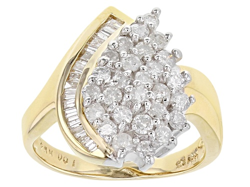 Photo of 1.00ctw Round And Baguette White Diamond 14K Yellow Gold Cluster Ring - Size 7