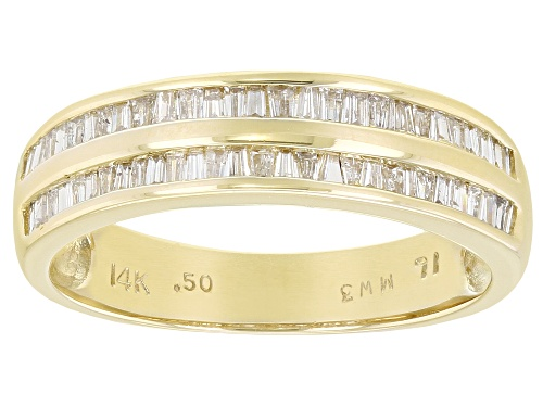 Photo of 0.50ctw Baguette White Diamond 14K Yellow Gold Band Ring - Size 7