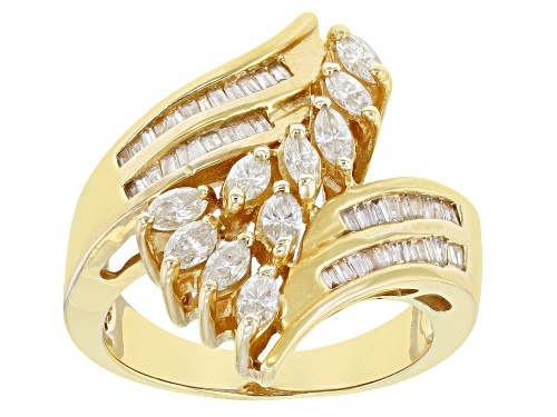 Photo of 1.00ctw Marquise And Baguette White Diamond 14K Yellow Gold Bypass Ring - Size 6