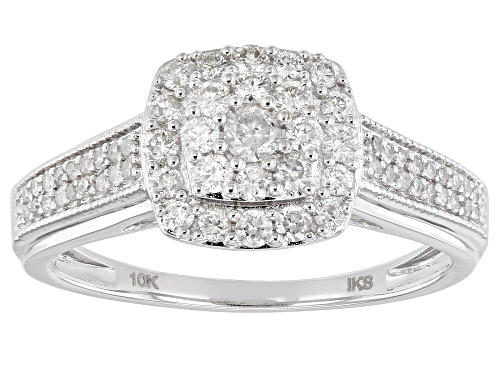 Photo of 0.50ctw Round White Diamond 10k White Gold Cluster Ring - Size 7
