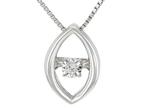 "Photo of Round White Diamond Accent 10k White Gold Dancing Diamond Pendant With 18"" Box Chain"