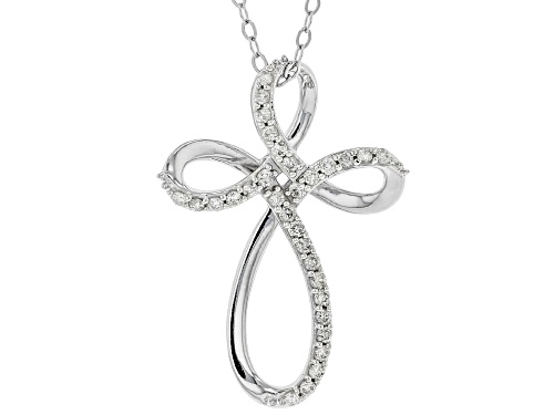 Photo of .25CTW ROUND WHITE DIAMOND 10K WHITE GOLD CROSS PENDANT WITH 19 INCH CABLE CHAIN