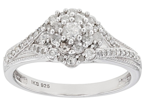 Photo of 0.50ctw Round White Diamond Rhodium Over Sterling Silver Cluster Ring - Size 7