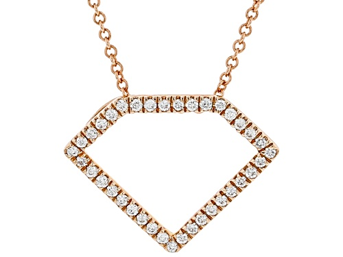 Photo of 0.15ctw Round White Diamond 10K Rose Gold Pendant With 18 Inch Cable Chain