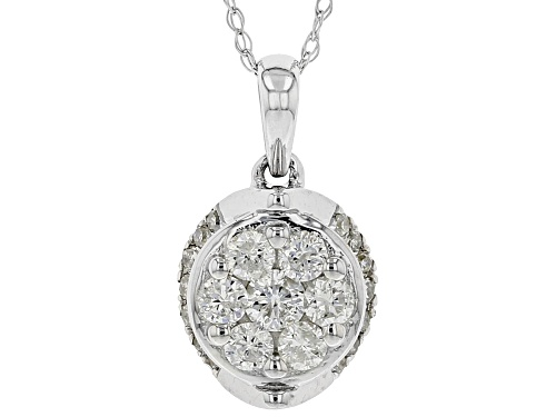 0.45ctw Round White Diamond 10K White Gold Cluster Pendant With 18 Inch Rope Chain