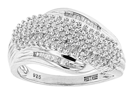 Photo of 0.35ctw Round And Baguette White Diamond Rhodium Over Sterling Silver Bypass Ring - Size 6