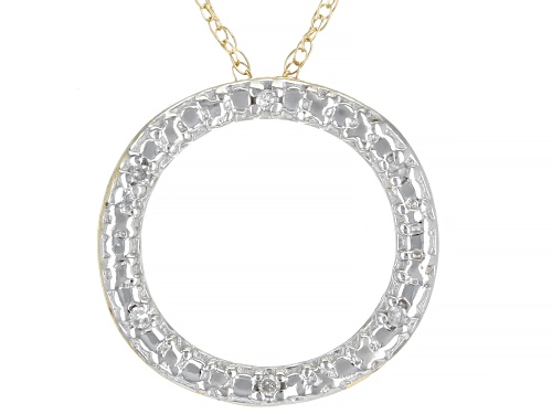Photo of Round White Diamond Accent 10K Yellow Gold Circle Pendant With 18 Inch Rope Chain