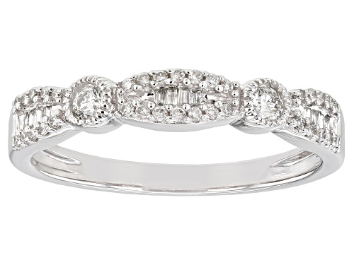 Photo of 0.25ctw Round And Baguette White Diamond 10K White Gold Band Ring - Size 7