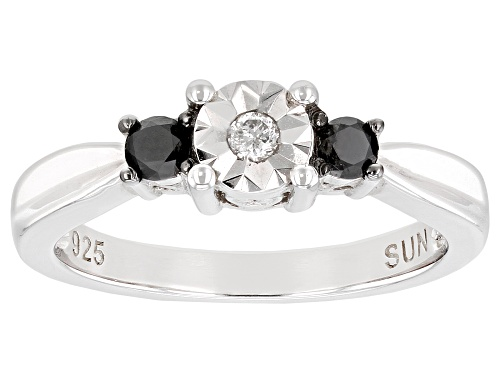 Photo of 0.25ctw Round Black And White Diamond Rhodium Over Sterling Silver 3-Stone Ring - Size 7
